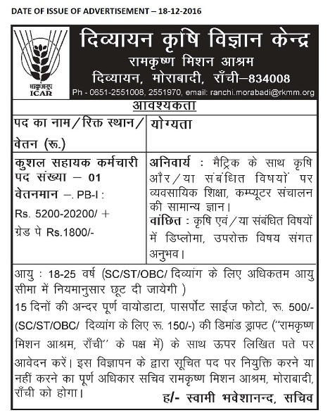Recruitment of Skilled Support Staff in KVK